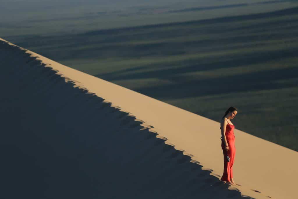 Chiara on Mongolian sand dune