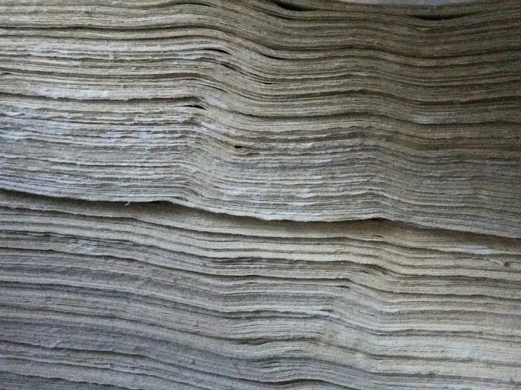 Stack of bamboo paper