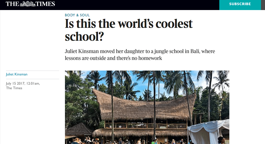 Juliet Kinsman The Times Green School Bali