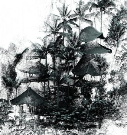 Autodesk scan of a bamboo house by IBUKU